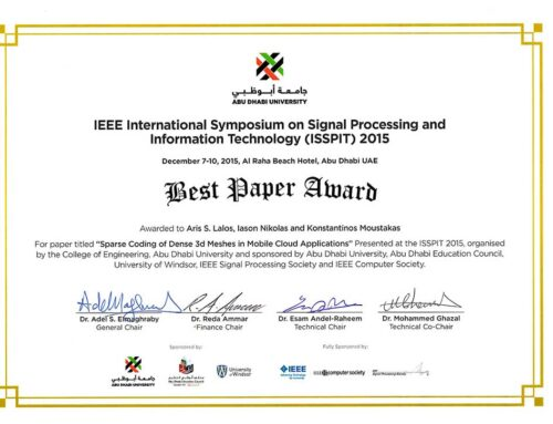 IEEE ISSPIT 2015 BEST PAPER AWARD ABU DHABI, UAE , DEC. 2015